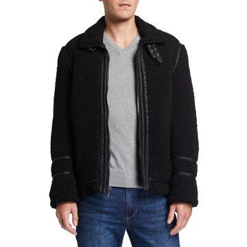 Men's Faux-Sherpa Aviator Jacket w/ Leather Trim