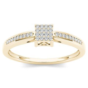 De Couer IGI Certified 10k Yellow Gold 1/10ct TDW Diamond Cluster Engagement Ring