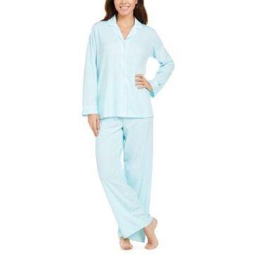 Miss Elaine Printed Knit Shirt & Pants Pajamas Set