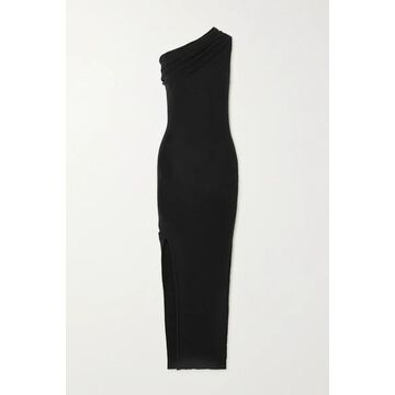 Rick Owens - One-shoulder Draped Ribbed Wool Dress - Black