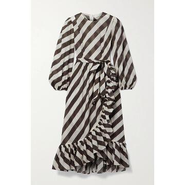 Zimmermann - Lulu Belted Asymmetric Ruffled Striped Cotton-voile Dress - Brown