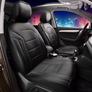 FH Group Half Set Futuristic Leatherette Black Front Seat Cushions