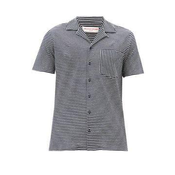 Orlebar Brown - Travis Striped Cotton-blend Shirt - Mens - Cream Navy