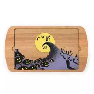 Picnic Time Billboard Nightmare Before Christmas Jack & Sally Serving Tray in Brown