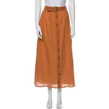 Pleated Accents Midi Length Skirt Orange