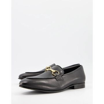 Selected Homme premium leather snaffle loafers in black