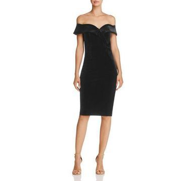 Bardot Womens Bella Velvet Off-The-Shoulder Cocktail Dress