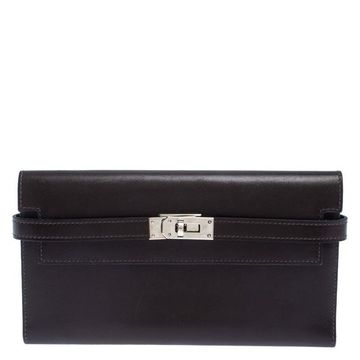 Hermes Chocolat Boxcalf Leather Long Kelly Wallet