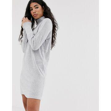Noisy May roll neck mini knitted sweater dress-Gray
