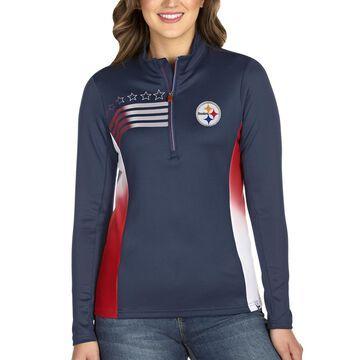 Women's Antigua Navy Pittsburgh Steelers Liberty Quarter-Zip Pullover Jacket