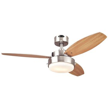 Westinghouse 7247300 Alloy Two-Light Reversible Three-Blade Indoor Ceiling Fa...