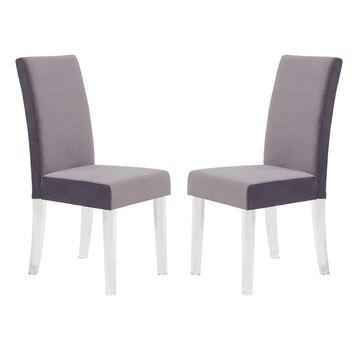 Armen Living Dalia Contemporary/Modern Velvet Upholstered Dining Side Chair (Metal Frame) in Gray   LCDACHGRAY
