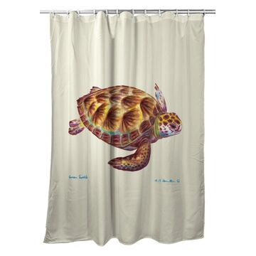 SH044 70 x 72 in. Green Sea Turtle Shower Curtain