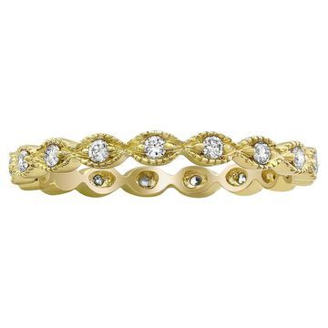 10k Yellow Gold 1/4ct Diamond Vintage Eternity Band Ring by Beverly Hills Charm (7)