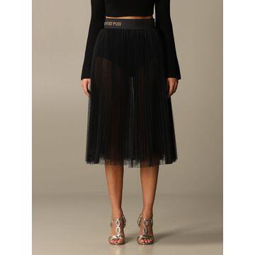 Elisabetta Franchi Flared Skirt In Pleated Tulle