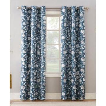 "Sun Zero Jorah 40"" x 95"" Thermal Insulated Botanical Print Curtain"