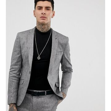 Heart & Dagger skinny fit suit jacket in gray linen mix