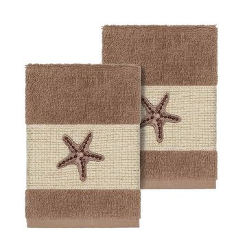 Linum Home Textiles Lydia Embellished Washcloth Set