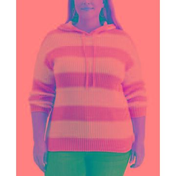 Style & Co Plus Size Striped Ribbed Hoodie Sweater, Created for Macy's