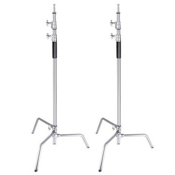 ''Neewer 2 Packs Stainless Steel Heavy Duty C-Stand, 5-10 feet/1.5-3 Meters Adjustable Photographic Sturdy Tripod for Reflectors, Softboxes, Monolights, Umbrellas''
