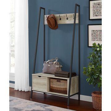 Walker Edison Coat Rack White - White Oak Angled Coat Rack