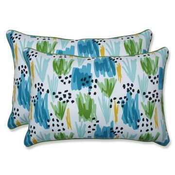 Pillow Perfect Flicker Seaglass 2-Piece 16.5-in W x 24.5-in L Indoor Decorative Pillow Polyester in Blue