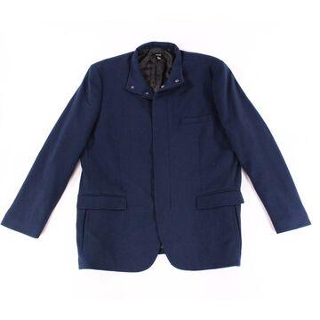 Alfani Mens Ottoman Stripe Full Zip Snap-Button Blazer