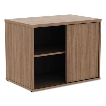 Alera Open Office Low Storage Cabinet Credenza, 29 1/2 x 19 1/8x 22 7/8, Walnut - Clear (Clear)