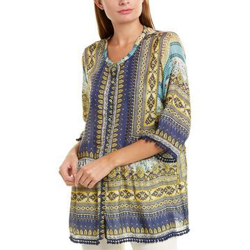 Johnny Was Womens Silk Blouse