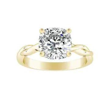 Auriya 14k Gold 1ctw Cushion Cut Solitaire Moissanite Engagement Ring