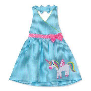Baby Girls Unicorn Gingham Seersucker Dress