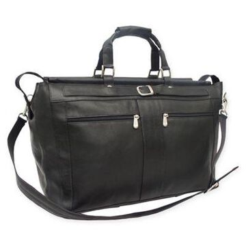 Piel Leather Carpet Bag in Black
