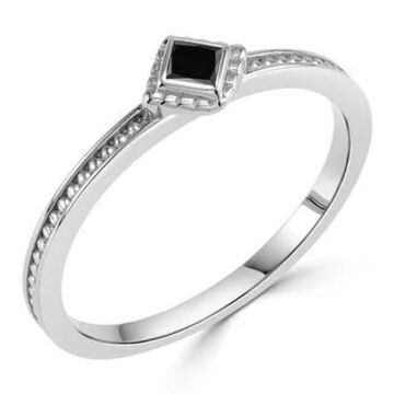Auriya 10k Gold Ultra-Thin Stackable Accent Black Diamond Ring .06ctw (White - 9)