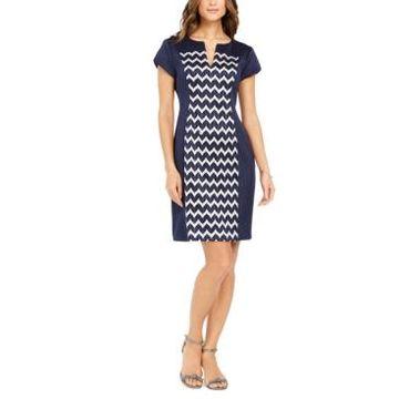 Connected Petite Chevron-Print Sheath Dress