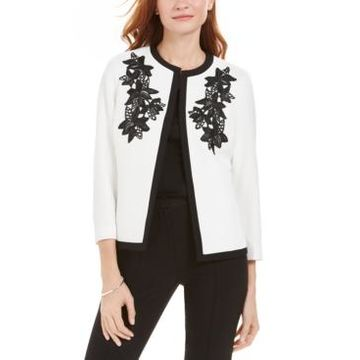 Kasper Embroidered Flyaway Jacket