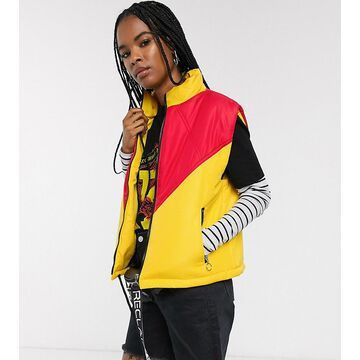 Reclaimed Vintage inspired puffer vest in color block-Yellow