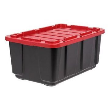 Iris 27gal Utility Tough Tote With Lid - Red/Black