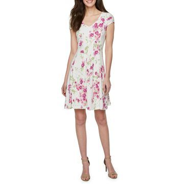 Ronni Nicole Short Sleeve Floral Eyelet Fit & Flare Dress