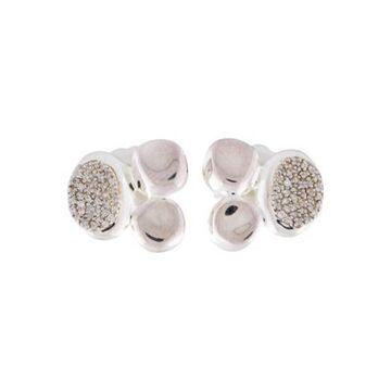 Diamond Onda Cluster Stud Earrings silver