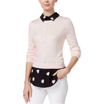 maison Jules Womens Layered Look Knit Blouse