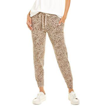Monrow Mini Leopard Sporty Cashmere-Blend Sweatpant