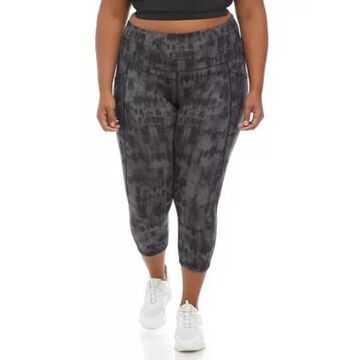 Rbx Women's Plus Size Peached Printed Capri Length Leggings With Pockets - -