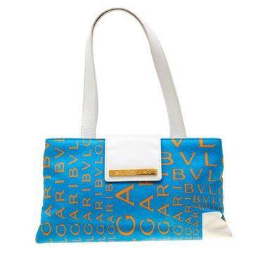 Bvlgari Blue/White Logo Mania Fabric and Leather Shoulder Bag