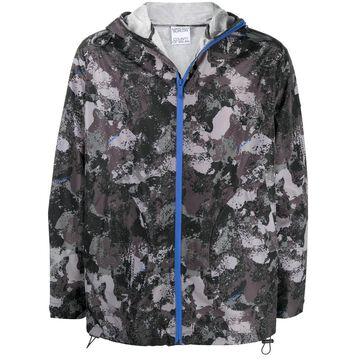 camouflage print hooded windbreaker