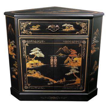 Oriental Furniture Japanese Corner Cabinet