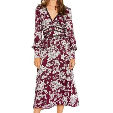 Bardot Womens Dress Purple White Size 8 Shift V-Neck Floral Print