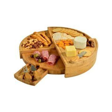 Picnic at Ascot Vienna Transforming Multilevel Bamboo Cheese Board Set with Tools