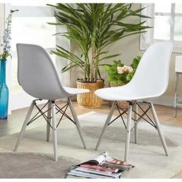 Simple Living Elba Two-tone White/ Grey Retro Plastic Shell Chair (Set of 2)