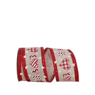 """JAM Paper 2.5"""" Wired Faux Linen Gingham Heart Love Ribbon   Michaels"""