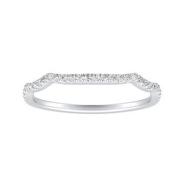 Auriya Platinum 1/8ctw Contoured Diamond Wedding Band